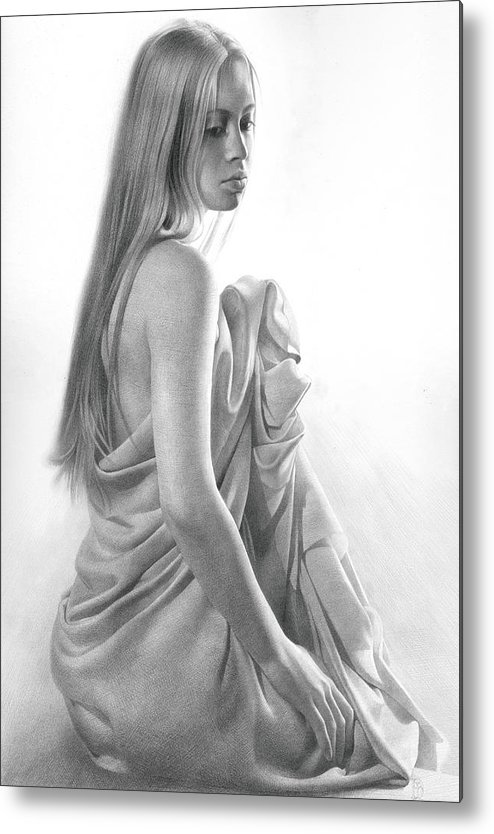 Model Metal Print featuring the drawing Model Ix by Denis Chernov