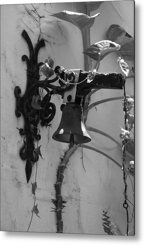 Black And White Metal Print featuring the photograph Monastery Bell by Rob Hans