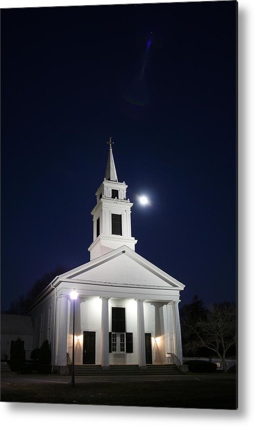 Church Metal Print featuring the photograph Moonlit Church by Jeff Porter
