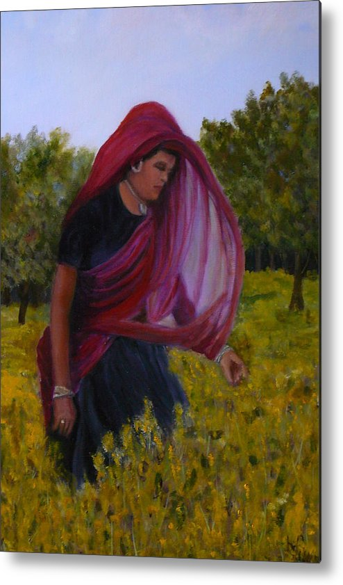 Trees Metal Print featuring the painting Mustard Fields Of India by Betty Pimm