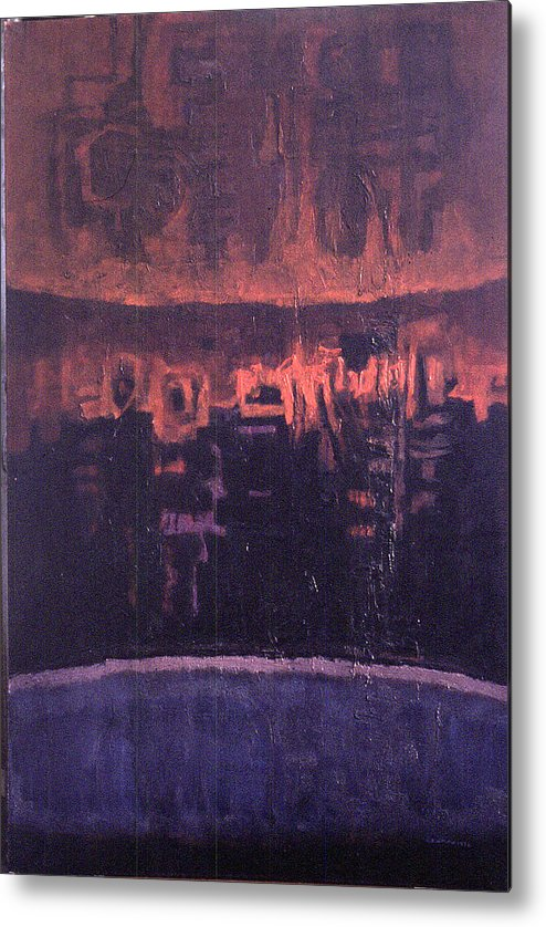 Nightscape Metal Print featuring the painting Nightscape New York by James LeGros