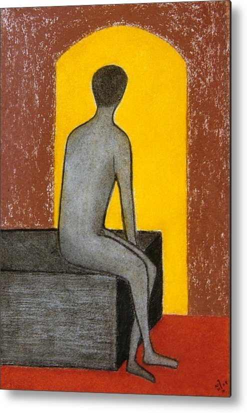 Nude; Male Metal Print featuring the drawing No.333 by Vijayan Kannampilly