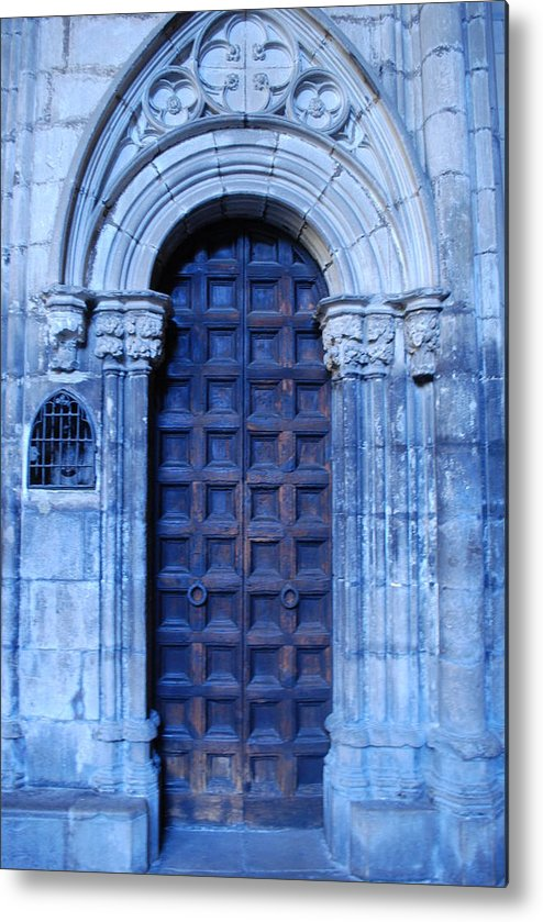 Cathedral Door Metal Print featuring the photograph Old Cathedral Door In Barcelona by Dorota Nowak