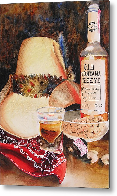 Whiskey Metal Print featuring the painting Old Montana Red Eye by Karen Stark