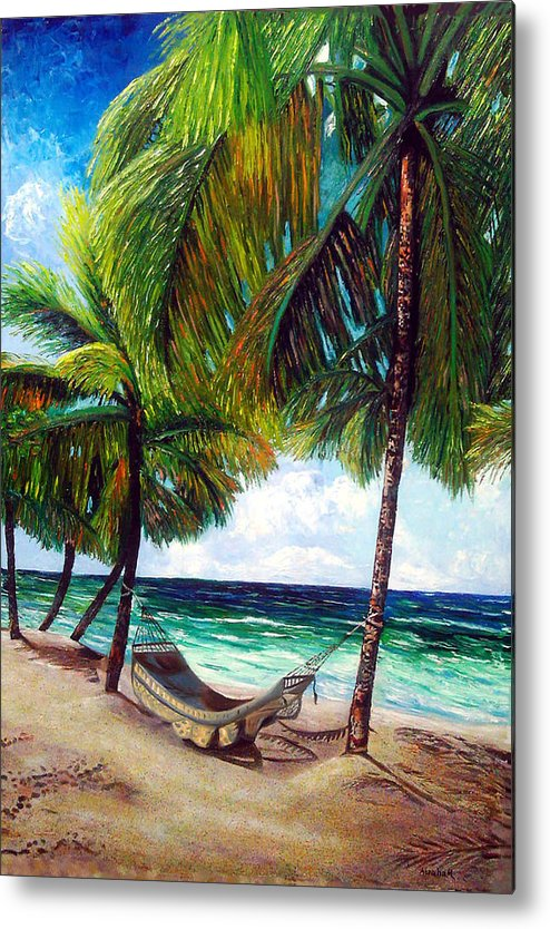 Beach Metal Print featuring the painting On The Beach by Jose Manuel Abraham