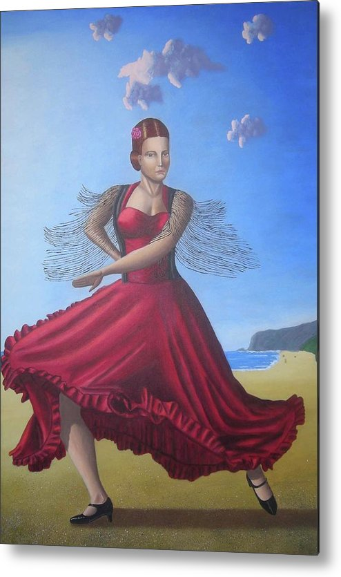 Dancing Portrait Painting Artwork Metal Print featuring the painting Painting Artwork Flamenco Dancing In Seville Beach by Luigi Carlo