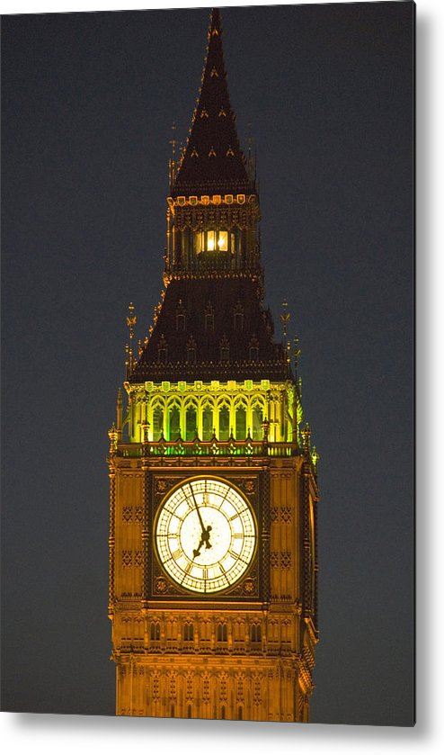 Parlkiament Metal Print featuring the photograph Parliament Tower At Night by Charles Ridgway