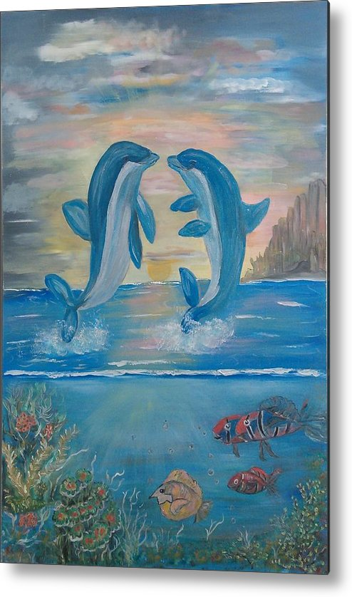 Original Metal Print featuring the painting Playful Dolphins by Mikki Alhart