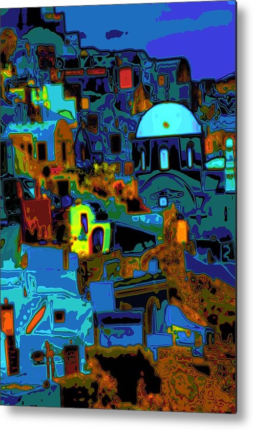 Greece Metal Print featuring the photograph Popart Santorini by Charles Ridgway
