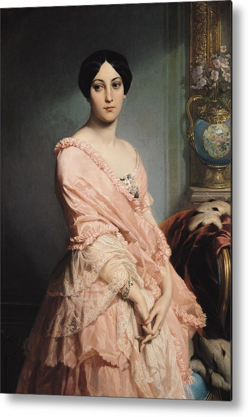 Portrait Metal Print featuring the painting Portrait Of Madame F by Edouard Louis Dubufe