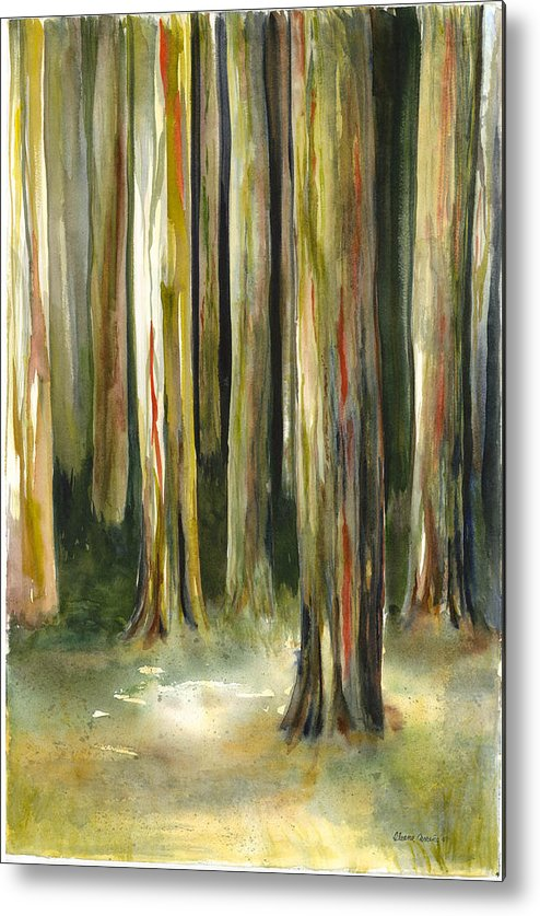 Bark Of Rainbow Eucalyptus Metal Print featuring the painting Rainbow Eucalyptus Forest by Ileana Carreno