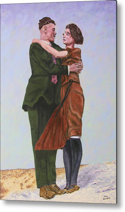 Double Portrait Metal Print featuring the painting Ray And Isabel by Stan Hamilton