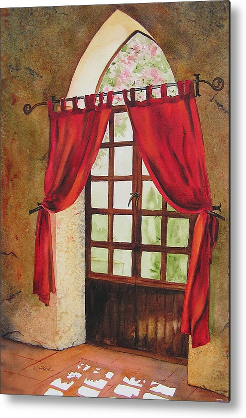 Curtain Metal Print featuring the painting Red Curtain by Karen Stark
