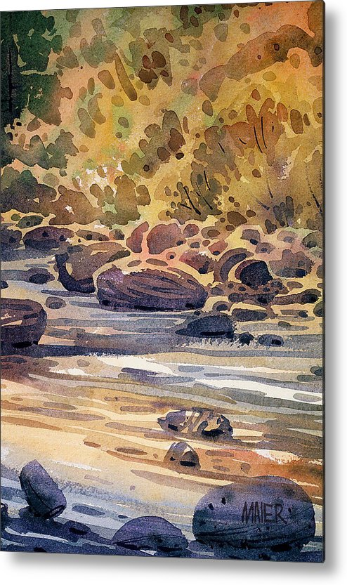 River Metal Print featuring the painting River Rocks by Donald Maier