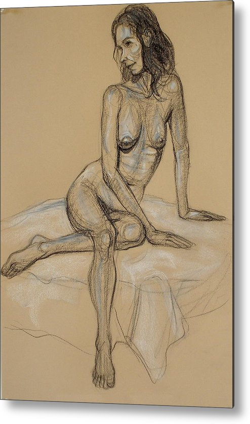 Realism Metal Print featuring the drawing Seated Nude 4 by Donelli DiMaria