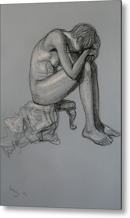 Realism Metal Print featuring the drawing Seated Nude by Donelli DiMaria