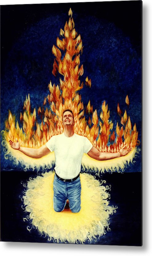 Holy Spirit Fire Metal Print featuring the painting Set Aflame by Teresa Carter