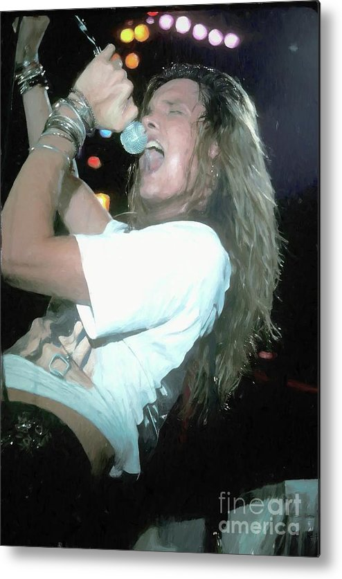 Pictures Metal Print featuring the painting Skid Row Sebastian Bach Painti by Concert Photos