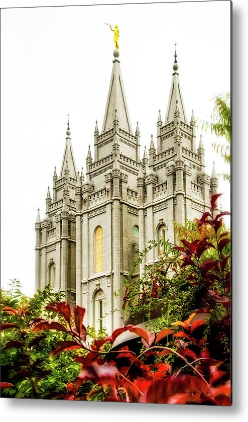 Metal Print featuring the photograph Slc Temple Angle by La Rae Roberts