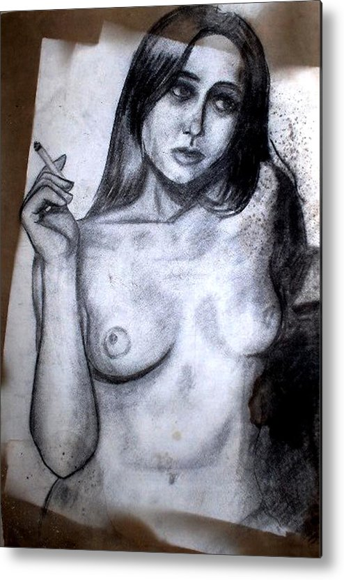 Nude Metal Print featuring the drawing Smoker by Thomas Valentine
