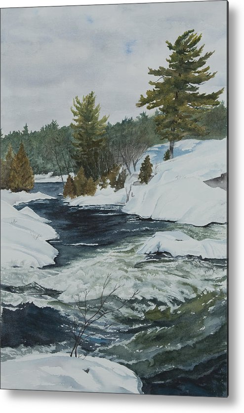 Snow Metal Print featuring the painting Snow And Islands by Debbie Homewood