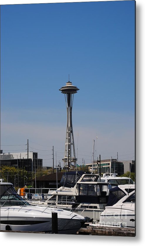 Seattle Space Needle Metal Print featuring the photograph Space Needle From The Harbor by Donna Meadows