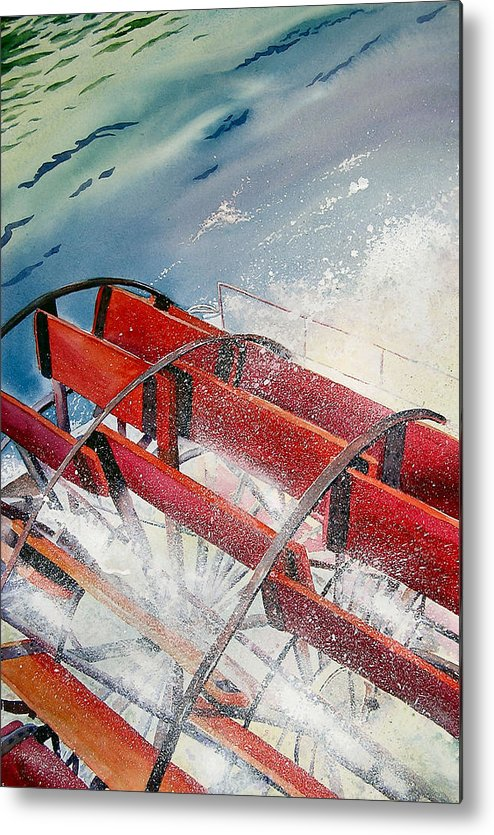 Paddlewheeler Metal Print featuring the painting Sternwheeler Splash by Karen Stark