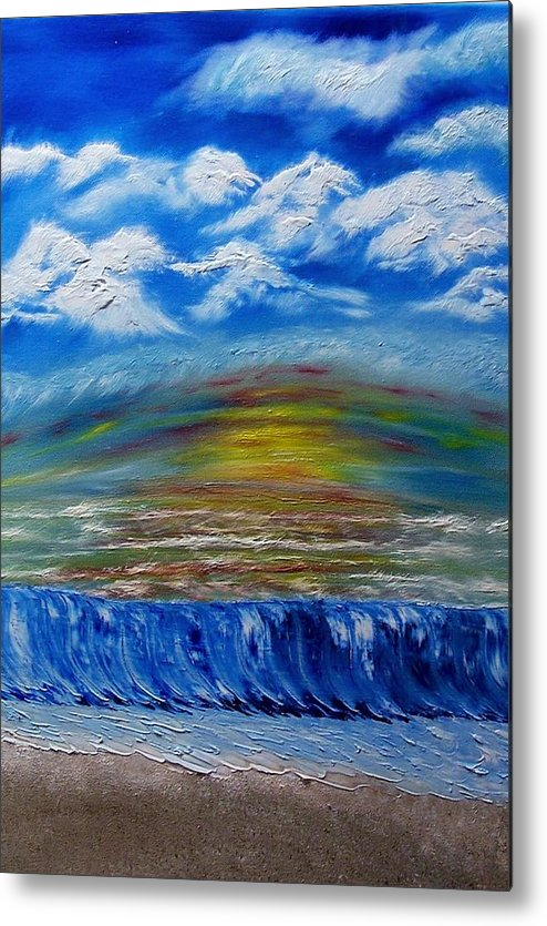 Sunset Metal Print featuring the painting Sunset At The Beach by Marie Lamoureaux