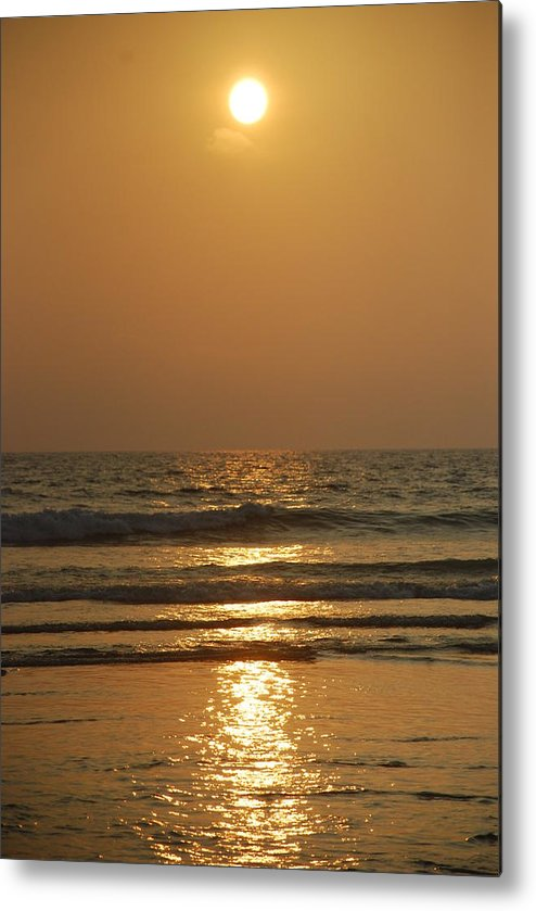 Sunset Metal Print featuring the pyrography Sunset In Goa by Reshmi Shankar