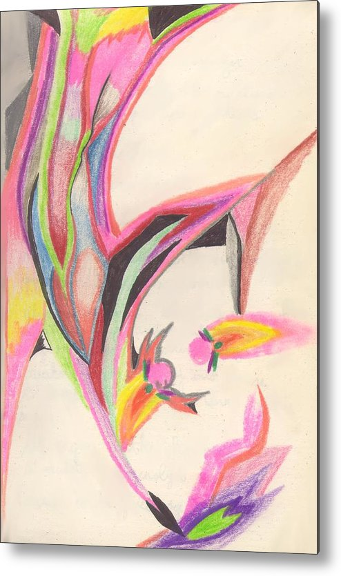 Abstract Metal Print featuring the drawing Sweet Spring by Peter Shor