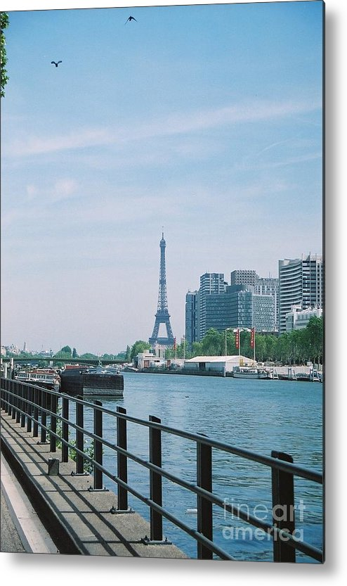 The Eiffel Tower Metal Print featuring the photograph The Eiffel Tower And The Seine River by Nadine Rippelmeyer