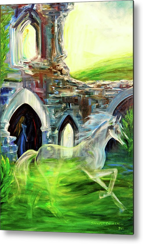 England Metal Print featuring the painting The Magic And Majesty Of Corfe Castle by Jennifer Christenson