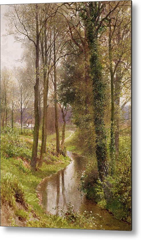 Round Metal Print featuring the painting The Mill Stream by Henry Sutton Palmer