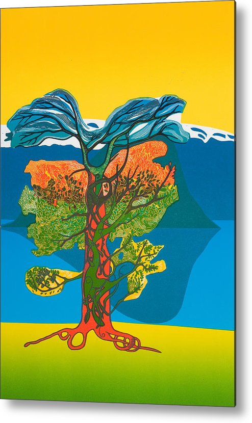 Landscape Metal Print featuring the mixed media The Tree Of Life. From The Viking Saga. by Jarle Rosseland