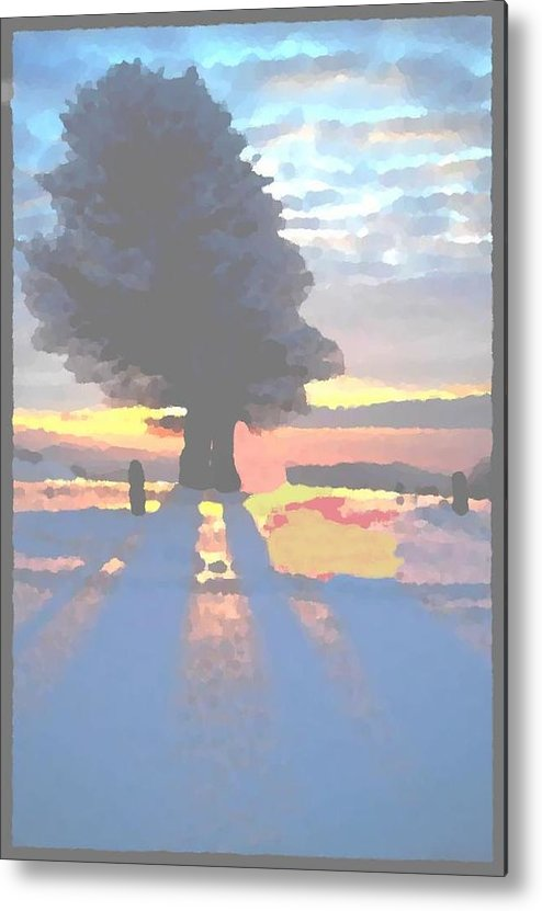 Sky.clouds.winter.sunset.snow.shadow.sunrays.evening Light.tree.far Forest. Metal Print featuring the digital art The Winter Lonely Tree by Dr Loifer Vladimir