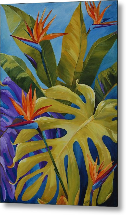 Bird Of Paradise Metal Print featuring the painting Tropical Birds by Karen Dukes