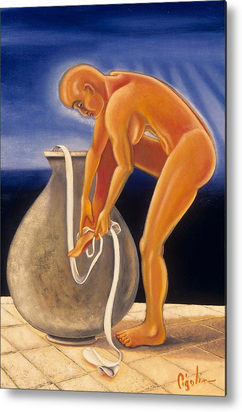 Nude Metal Print featuring the painting Untied by Gloria Cigolini-DePietro