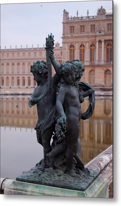Water Metal Print featuring the photograph Versailles Reflection Pool by Nancy Bradley