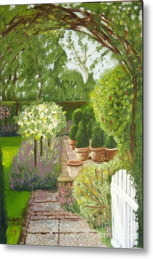 Garden Metal Print featuring the painting Walk With Me by Laurie Morgan