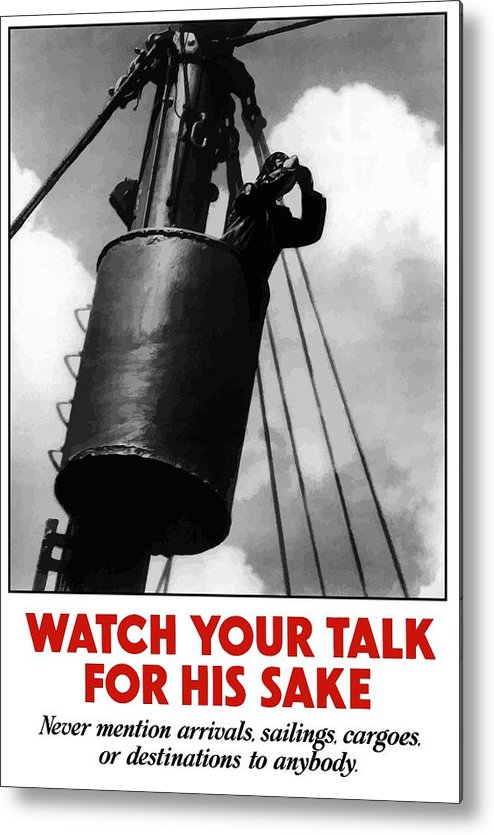 Sailor Metal Print featuring the painting Watch Your Talk For His Sake by War Is Hell Store