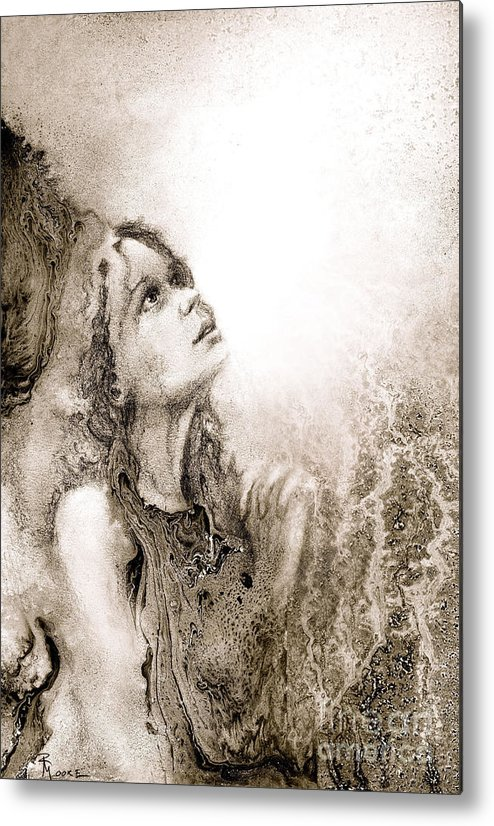Abstract Metal Print featuring the drawing Whisper A Little Prayer For Me by Rick Moore