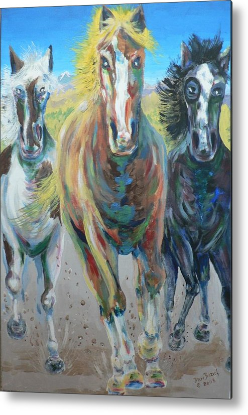 Three Metal Print featuring the painting Wild And Free by Dan Bozich