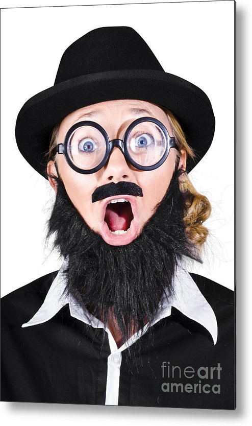 Humor Metal Print featuring the photograph Woman With Fake Beard And Mustache Screaming by Jorgo Photography - Wall Art Gallery