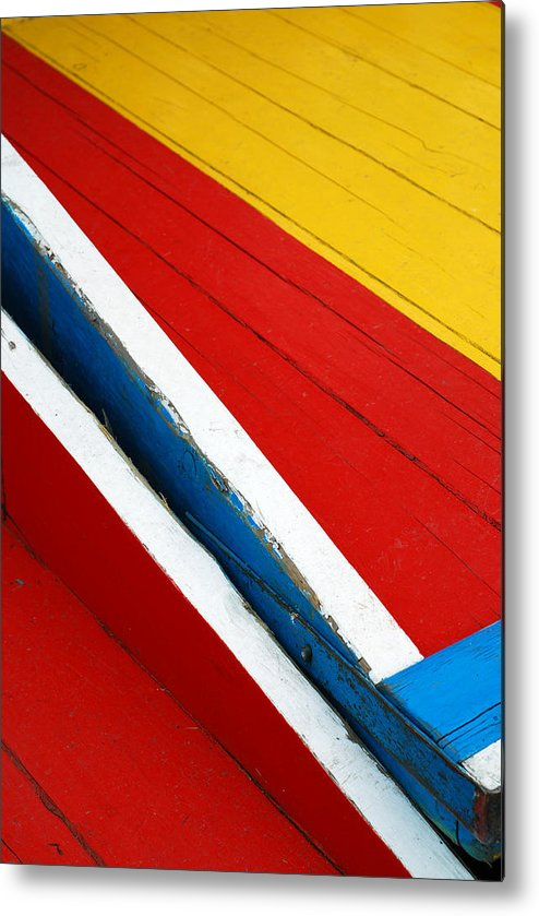 Red Metal Print featuring the photograph Xochimilco Boat Abstract 1 by Skip Hunt