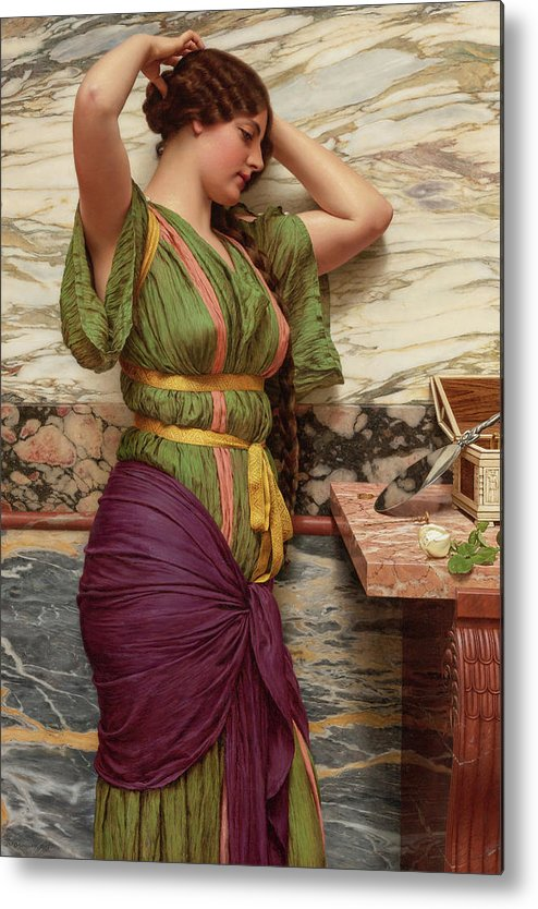 John William Godward Metal Print featuring the painting A Fair Reflection, 19th Century by John William Godward