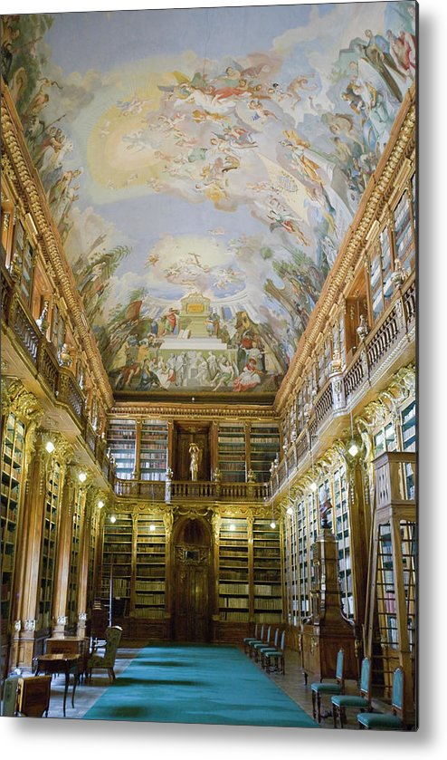 Ceiling Metal Print featuring the photograph Strahov Library, Prague, Czech Republic by Gavin Gough