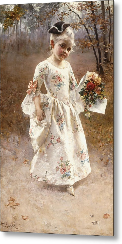 Little; Flower; Girl; Female; Child; Children; Portrait; Standing; Full Length; Young; Youth; Posy; Bouquet; Flower; Flowers; Floral; Silk; Dress; Hat; Walking; Wooded; Landscape; Coquettish; Coy; Woods; Leaves Metal Print featuring the painting The Little Flower Girl by Albert Raudnitz