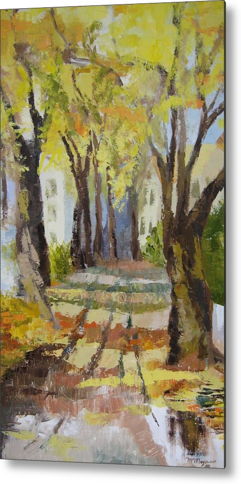 Landscape Metal Print featuring the painting Autumn Street by Mabel Moyano