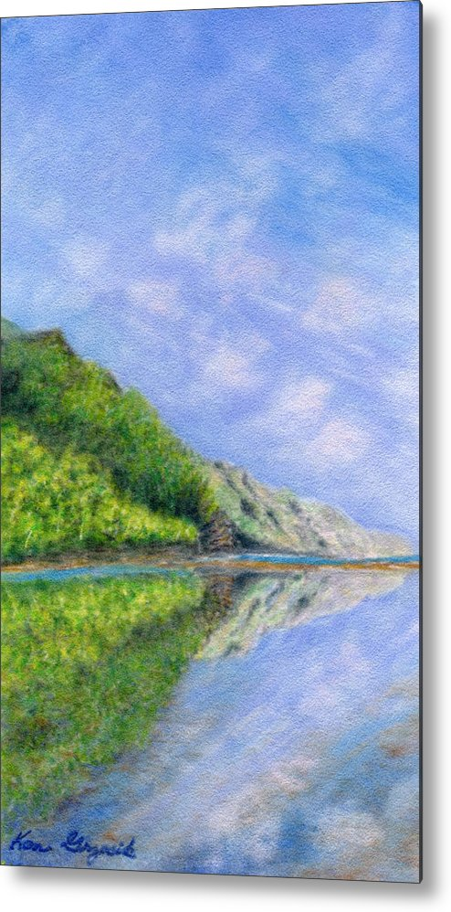 Rainbow Colors Pastel Metal Print featuring the painting In Reflection by Kenneth Grzesik