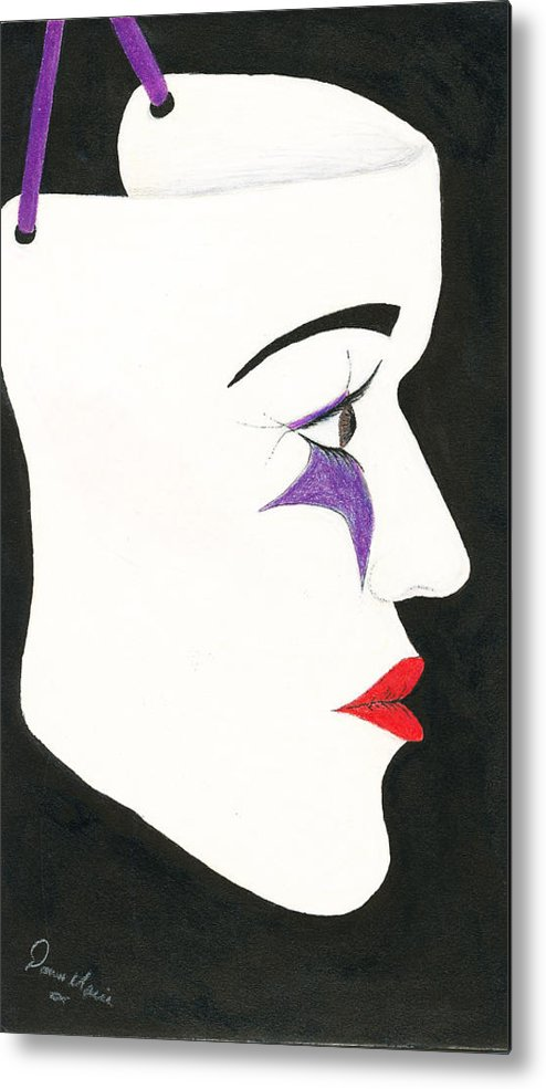 Mask Metal Print featuring the drawing Le Masque by Dawn Marie Black